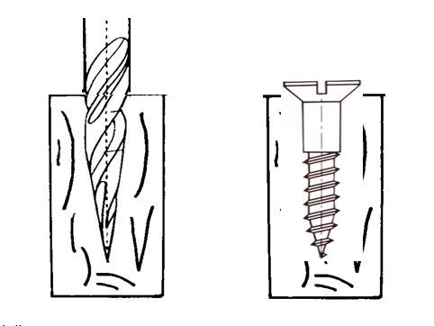 simple avant-trou réalisé à partir du foret l'Avant-trOu, outil de pré-perçage breveté